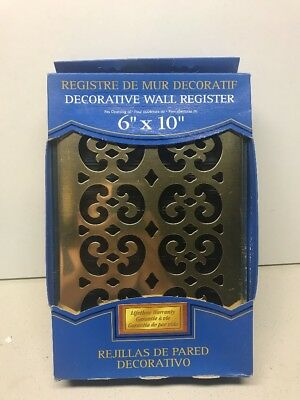 [NEW] Decor Grates SP610W 6 in. x 10 in. Bright Brass-Plated Scroll Register