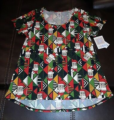 Small Lularoe NWT Christmas Holiday Classic T - Aztec Santa festive style in red