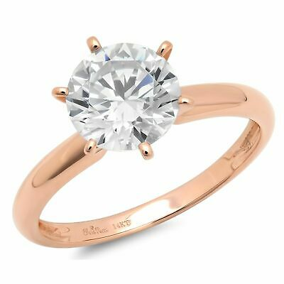 0.50 ct BRILLIANT Round CUT SOLITAIRE ENGAGEMENT RING Solid 14K Rose GOLD