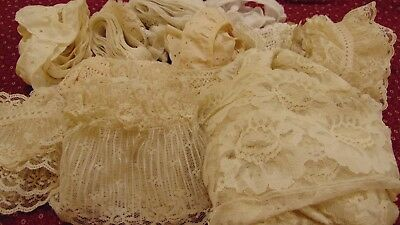 35+ Yards Antique Vintage Lace Hand Crocheted Netted Eyelet Mixed Lot