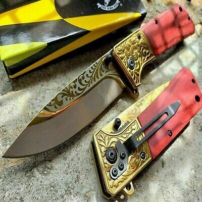 "8.5"" Gold Blade Pocket Knife Folding Assisted Spring Open Tactical wood Handle"