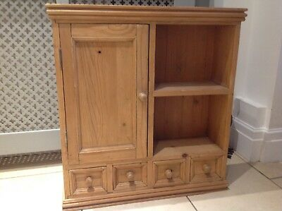 Antique pine wall cabinet with shelf and small drawers 70cm x 66cm x 18cm