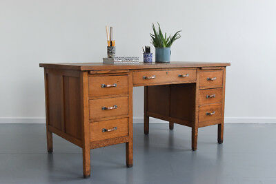 Vintage Traditional 1930s Twin Pedestal Oak Desk by Shannon Commercial