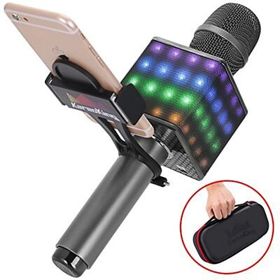 Wireless Karaoke Microphone Portable Bluetooth Smartphone Holder LED Lights NEW