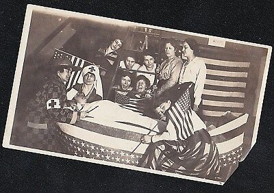 Antique Vintage Photograph Red Cross Women With American Flags United States
