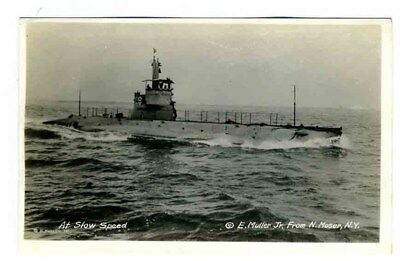 WW I Submarine at Slow Speed Real Photo Postcard Moser