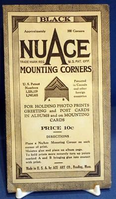 Vintage USA NuAge Black Mounting Corners Hinges for Photo Postcard Scrap Albums