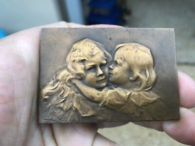 Brother & Sister French Art Nouveau Medal Plaque By B. Moria
