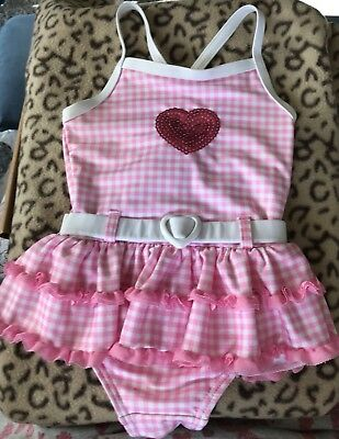 Penelope Mack One-Pc Swimsuit Baby Girls Size 24 months Pink White Gingham Heart