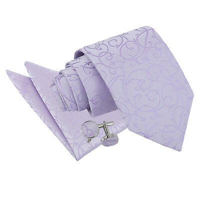 DQT Woven Swirl Patterned Lilac Classic Tie Hanky Cufflinks Wedding Set