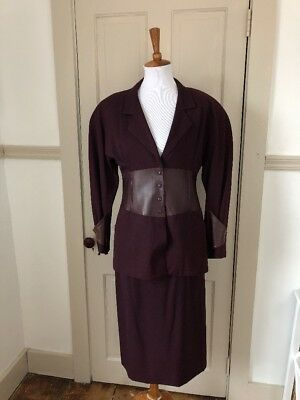 Vintage 1990s Jacques Molko Paris Eggplant Leather Panel Suit Set Size 40 AS IS