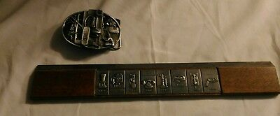 VINTAGE Rare Telephone history 1876-1965 wooden ruler and Pewter Belt buckle