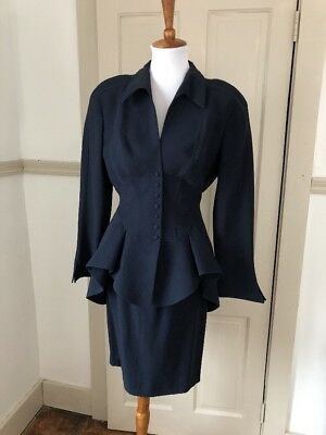 Vintage 1980s/1990s Does 1940s Thierry Mugler Paris Navy Suit Set Size 40 Peplum