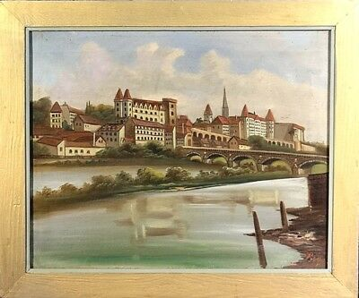 Superb ca.1925 European City by River Oil Painting on Canvas w/Frame Signed