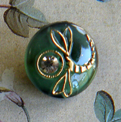 """Vintage Dragonfly Black Glass Moonglow Button Rhinestone 1/2"""" Green/Gold Luster"""