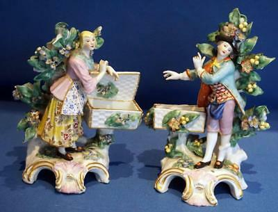 Antique Pair of Figurines Man and Lady With Baskets Gold Anchor Mark