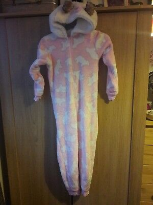 Girls hooded pink white all in one suit 8 years
