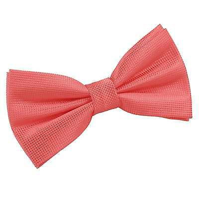New DQT Solid Check Men's Wedding Pre-Tied  Bow Tie - Coral