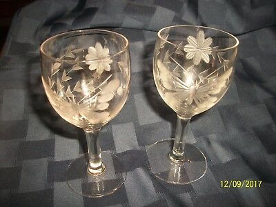 Set of 2 Crystal Cut Glass Cordials Butterfly & Floral Etched Glass Antique