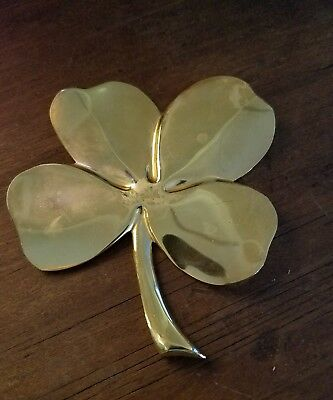 Vintage Gerity 24k Gold Plated 4 Leaf Clover Paperweight
