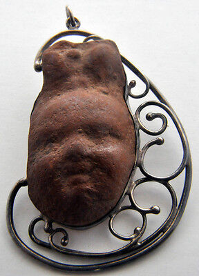 Ancient Roman Terracotta Antiquity Holy Land Sterling Silver Face Mask Pendant
