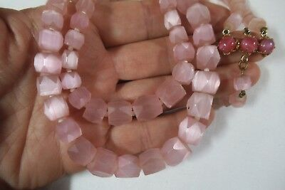 Vintage Art Deco Pink Frosted Glass Satin Glass Necklace-Repurpose Faceted Beads