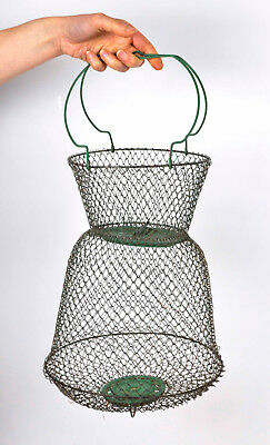 Vintage French Maillinox Green Wire Mesh Fish Fishing Collapsible Basket