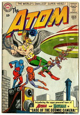 Atom #7 VG- 3.5 off-white pages  1st Atom & Hawkman Teamup  DC  1963  No Reserve