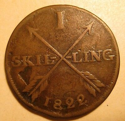 Sweden Coin 1822 One Skilling VG-F Low 520,000 Mintage KM# 597 Arrows