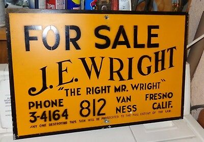 Vintage Mr. Wright Real Estate Advertising Sign - Great Graphics  !!!