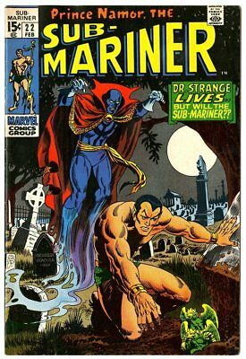Sub-Mariner #22 VF+ 8.5 white pages  Dr. Strange x-over  Marvel 1970  No Reserve