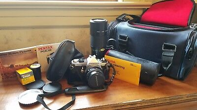 Pentax ME super manual 35mm with lens, cases and booklets