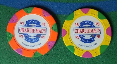 Charlie Mac's $1 and $5 Casino Poker Blackjack Chip Paulson North Seattle Wa.