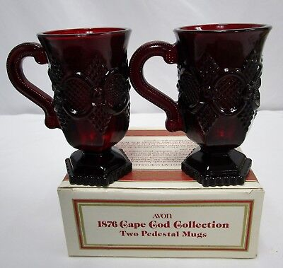 NEW Avon 1876 Cape Cod Ruby Red Glass PEDESTAL MUGS, Set of 2 w/ Original Box