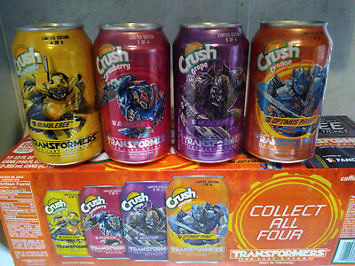 CRUSH TRANSFORMERS Cans OPTIMUS PRIME MEGATRON BARRICADE BUMBLEBEE PINEAPPLE