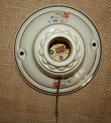 Antique Porcelier Ceiling Light Fixture Porcelain with Flowers #C