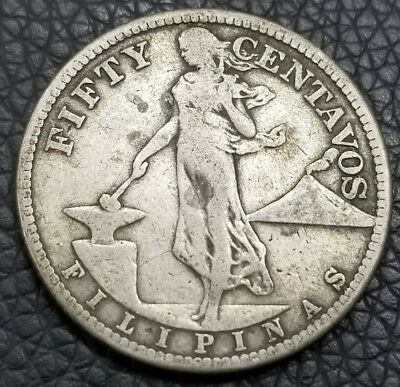 Philippines, 1918-S Silver Fifty Centavos, Circulated [Ak3963]