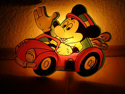 Alte Micky Maus Lampe Mickey Mouse im Auto Disney Leuchte Wandlampe