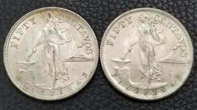 1945 50 Centavos Philippines .750 Silver Coin High Grade - Lot of 2 - [AK3965]