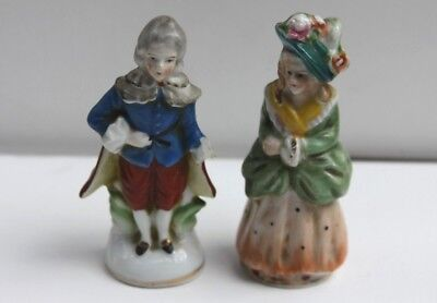 """Porcelain Man Woman Figurines, Vintage, Made in Occupied Japan 4"""" tall Gold trim"""