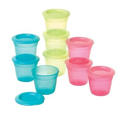 Tommee Tippee Food Storage Pots and Lids 4+ Months (Colours May Vary, 3-P... NEW