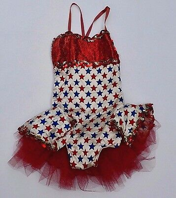 Vintage Childs Red White & Blue Star Dance Tutu Layered Girls Costume Dress Up