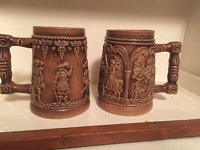 Pair of Vintage Ornate Beer Mugs Medieval Knights Made in West Germany/collector