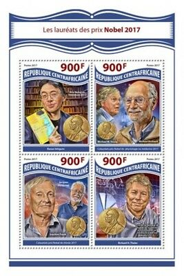 Central Africa - 2017 Nobel Prize Winners - 4 Stamp Sheet - CA17807a