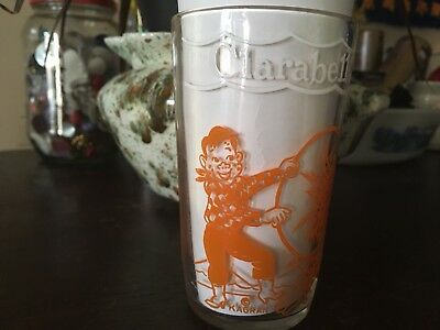 Howdy Doody Glass Cup Orange clown tiger Clarabell Trick