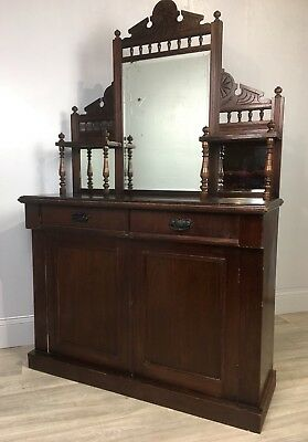 Antique Mahogany Chiffonier, Sideboard, Dresser With Mirror