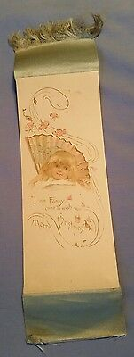 Antique Christmas Bookmark Young Girl named Fanny wishing Christmas w/ flowers