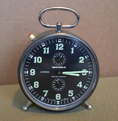 Vintage Wehrle German Alarm Clock Corsa Repeat Rare Large Size With Black Dial