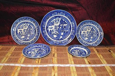 Vintage Blue Willow Dishes Buffalo Pottery Semi Vitreous Assorted Plates & Bowl