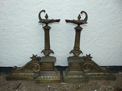"A Pair Of Georgian Brass Fire Dogs In A Classical Design With Columns 20.5"" High"
